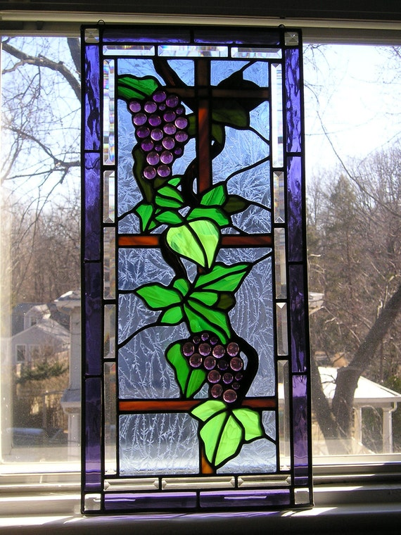 Stained Glass Art|Glass Window PanelGrapes|Grapevines|Vineyard|Autumn Harvest|Art & Collectibles|Glass Art|Panels|Handcrafted|Made in USA