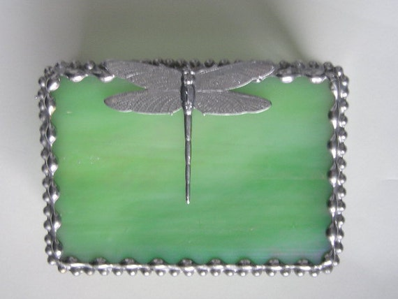 Stained Glass Jewelry or Trinket Box - Dragonfly Design - Iridescent Lime Green - Home & Living - Decor and Housewares - Boxes- Handcrafted