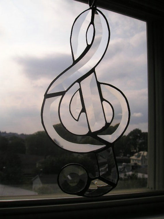 Stained Glass Suncatcher|G Clef|Musical Symbol|Music|Gift for Musician|Art & Collectibles|Glass Art|Suncatchers|Handcrafted|Made in USA