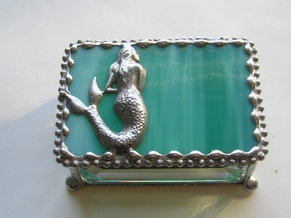 Stained Glass Jewelry Box|Mermaid|Mermaid Jewelry Box|Mermaid Trinket Box|Jewelry|Jewelry Storage|Mermaid Design|Handcrafted|Made in USA