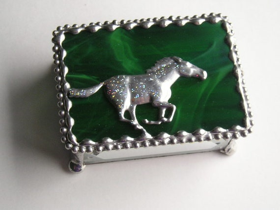 Horse|Stained Glass Jewelry Box|Trinket Box|Horse Galloping|Green|Jewelry|Jewelry Storage|Handcrafted|Made in USA