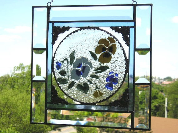 Stained Glass - Stained Glass Panel - Stained Glass Pansies - Fused Glass -  Home Decor - Handcrafted - Made in USA