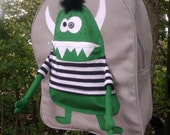 "Backpack Green Boy Monster ""Toothy"""