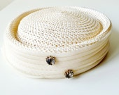 Vintage Beige Natural Straw Pillbox Hat by Marshall Fields Co. Chicago