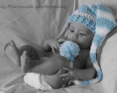 Blue and White Striped Crochet Baby Longtail Elf Hat - Photo Prop - made to order
