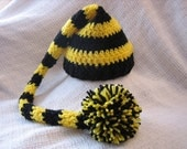 Black and Yellow Striped Crochet Baby Long Tail Elf Hat - Team Colors - Photo Prop - made to order