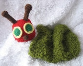 Crochet Baby Caterpillar set  Hat and Cocoon - Photo Prop / Costume - Made to Order