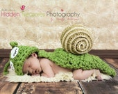 Crochet Baby Snail  Set  Hat and Cover - Photo Prop / Costume - Made to Order