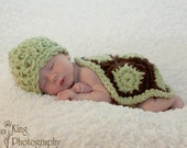 NEWBORN Crochet Turtle shell and hat - Photo Prop - Made to Order