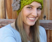 The Cara- Womens hat with DETACHABLE flower clip, shell crochet beanie, slouch hat, fall fashion, choose your colors, FREE SHIPPING