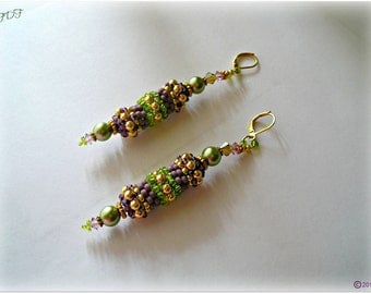 Seed Beaded Bead Earrings:  Tube  Design Green & Purple with Gold Accent Beads.