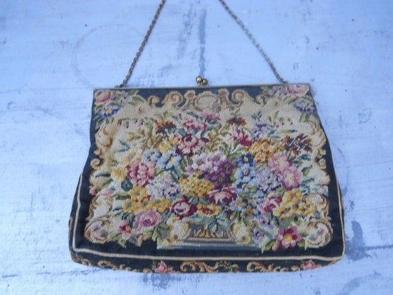 Exquisite 1940s vintage floral petit point evening bag by Jolles Original made in Austria - 40s