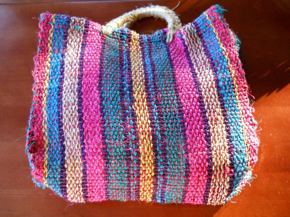 Vintage ethnic multicolored striped straw tote