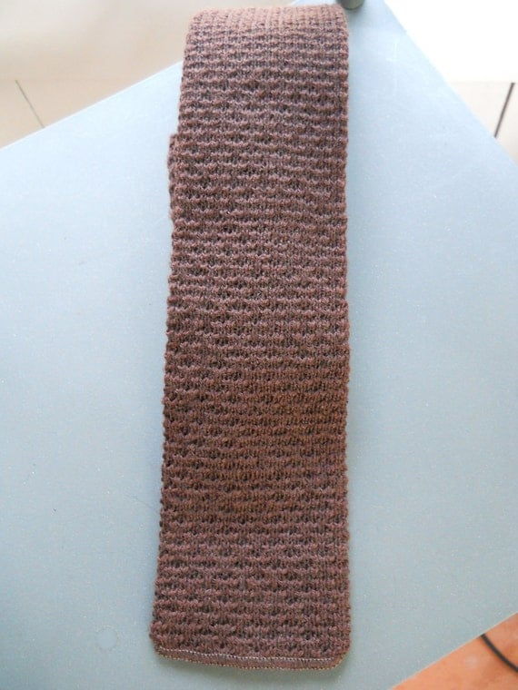 Vintage knit Massey's square bottom necktie in brown