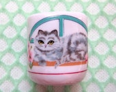 Tiny Grey Cat, Candle or Toothpick Holder