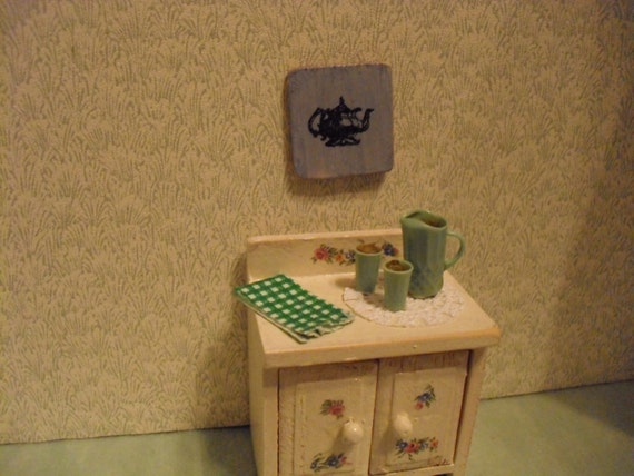 Shabby White Miniature Cabinet With Drinks and Accessories
