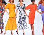 Vintage 1990s Sewing Pattern, Loose Fitted Tunic Dress & Shirt w/Long Skirt / Butterick Classics 4916  / size 14, 16, 18 bust 36 38 40 S M L