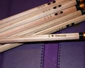 Engraved Pencils - I Love Tennis - Set of 6 - natural wood