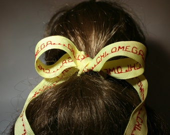 CHI OMEGA lemon yellow grosgrain ribbon
