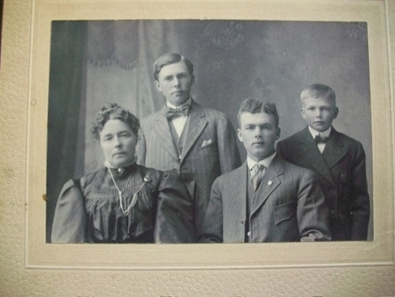 Old Original Photograph Mother And Sons Victorian Family Picture