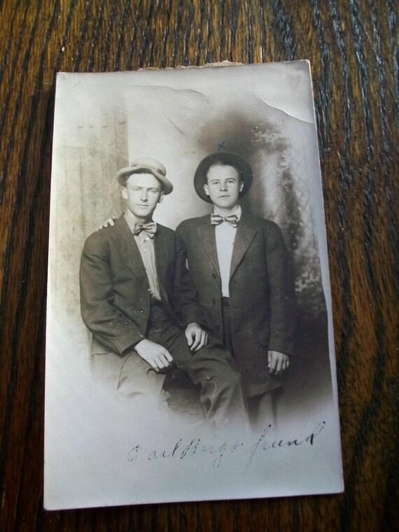 Antique Photograph Postcard Two Male Friends Vintage Bromance RPPC