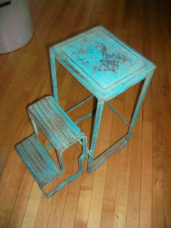 Vintage Folding Step Stool Metal Ladder By Redriverantiques