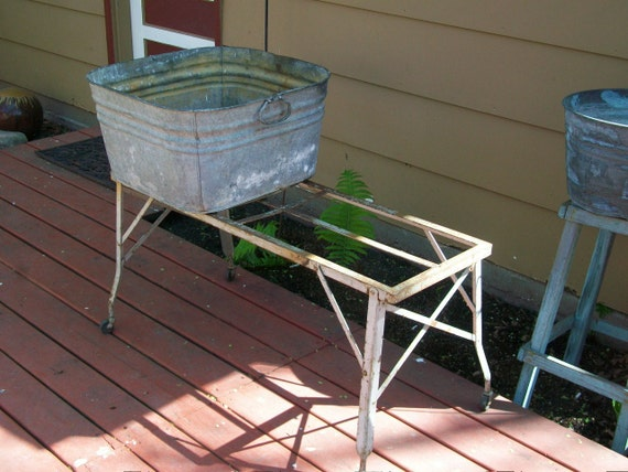 Wash Tub With Stand : Vintage Wash Tub Stand Metal Collapsible Country Industrial Accent