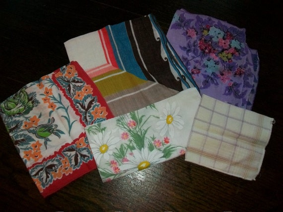 Vintage 50s Handkerchiefs Colorful Group of 5 For Her