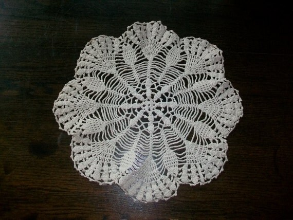 Vintage Crocheted Lace Doily Off White Round 13 Inches