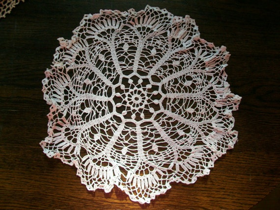 Antique Doily Hand Crocheted Lace White Round 15 Inch