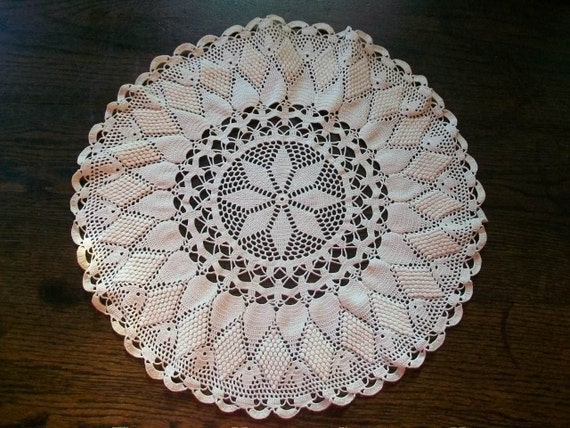 """Large Vintage Doily Hand Crocheted Lace White Round 15"""""""