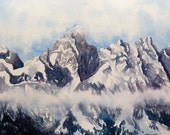 watercolor ORIGINAL Portrait of the Grand mountains Wyoming Tetons watercolour