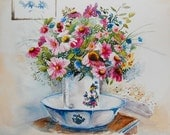 watercolor ORIGINAL The Beauty of the Cosmos flowers floral garden bouquet watercolour