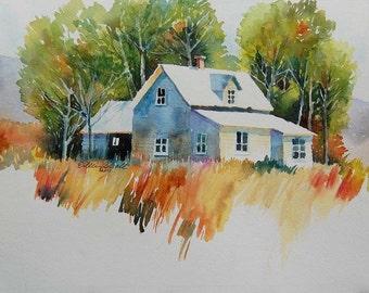 watercolor ORIGINAL Swan Valley Farm--house, home rustic watercolour