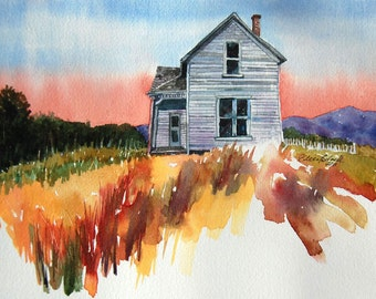 watercolor ORIGINAL McCrady's Place-Sunset farm house rustic watercolour