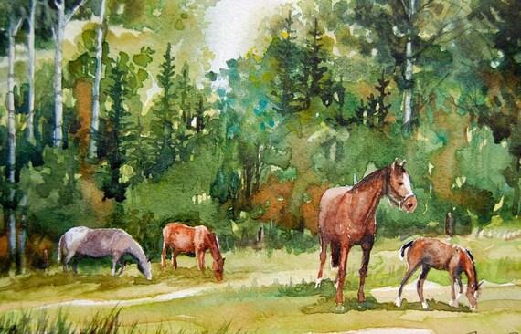 Greener Pastures--ORIGINAL watercolor, horses, forest, pasture, colt, mare