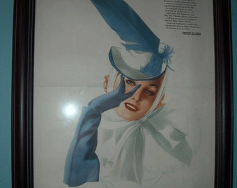 Framed Varga Girl Vintage Print, Poster from Esquire Magazine, ca 1940