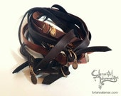 Skinny Double Arm Band-Unisex Leather Wrist Wrap in BLACK