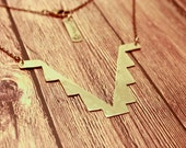 Tribal Necklace - Southwestern Native American Inspired - Triangle Points Geometric Metal  - RaeBird Jewelry - Free Shipping