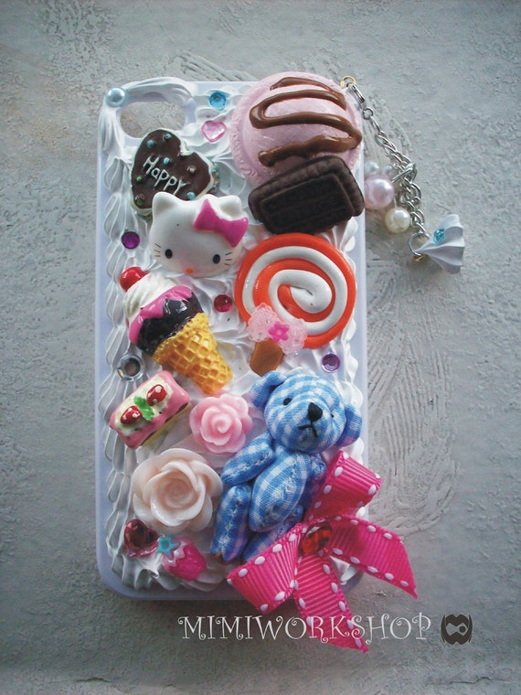 Sweet Deco Kitty and Bear iPhone 4 case