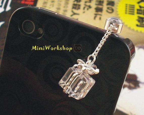 Crystal Gift Box Dustproof Plug ear cap for iphone