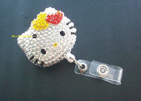 Bling Hello Kitty Retractable ID Card Badge Holder