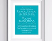 YOUR Custom Song Lyrics Print. Gift for Boyfriend Girlfriend, YOUR Song. Personalized Anniversary Gift. Unframed Print 8x10 inch.