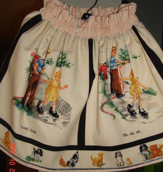 """Vintage  Dick and Jane """"Look"""" Skirt  Size 4 Michael Miller Fabric"""