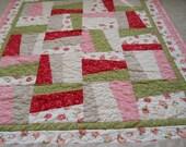 "Handmade Quilt ON SALE Floral ""Rose Garden"" Throw"
