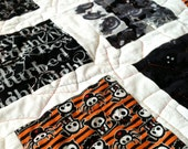 """Quilted Throw Handmade Patchwork  """"Spooks in Black and White"""""""