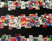 """Handmade to Order Marvel Heroes """"Comic Strips"""" Quilt Twin Size"""