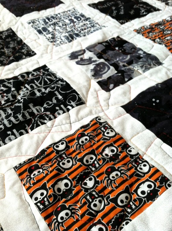 "Quilted Throw Handmade Patchwork  ""Spooks in Black and White"""