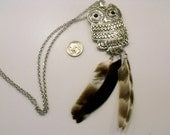 Triple Feather Owl Necklace