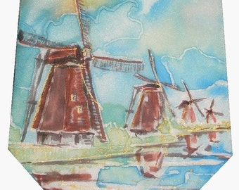 Made to order Silk Tie with Landscape. I will paint it using your photos and hints